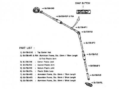 Parts List - Tent 682 Pole Assembly