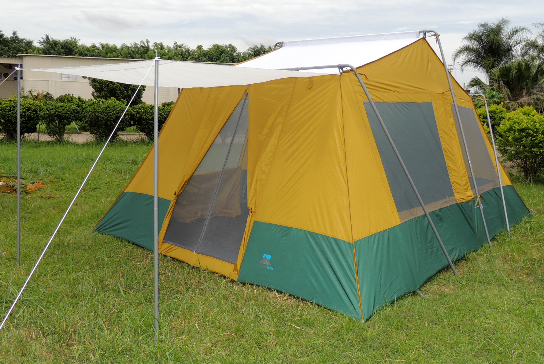 Cabin Tent 767 shown with front Awning and solid roof under rain fly ... & Two Room Cabin Tent 10u0027 x 14u0027 | Two 10u2032x7u2032 Cabins | Rugged Frame