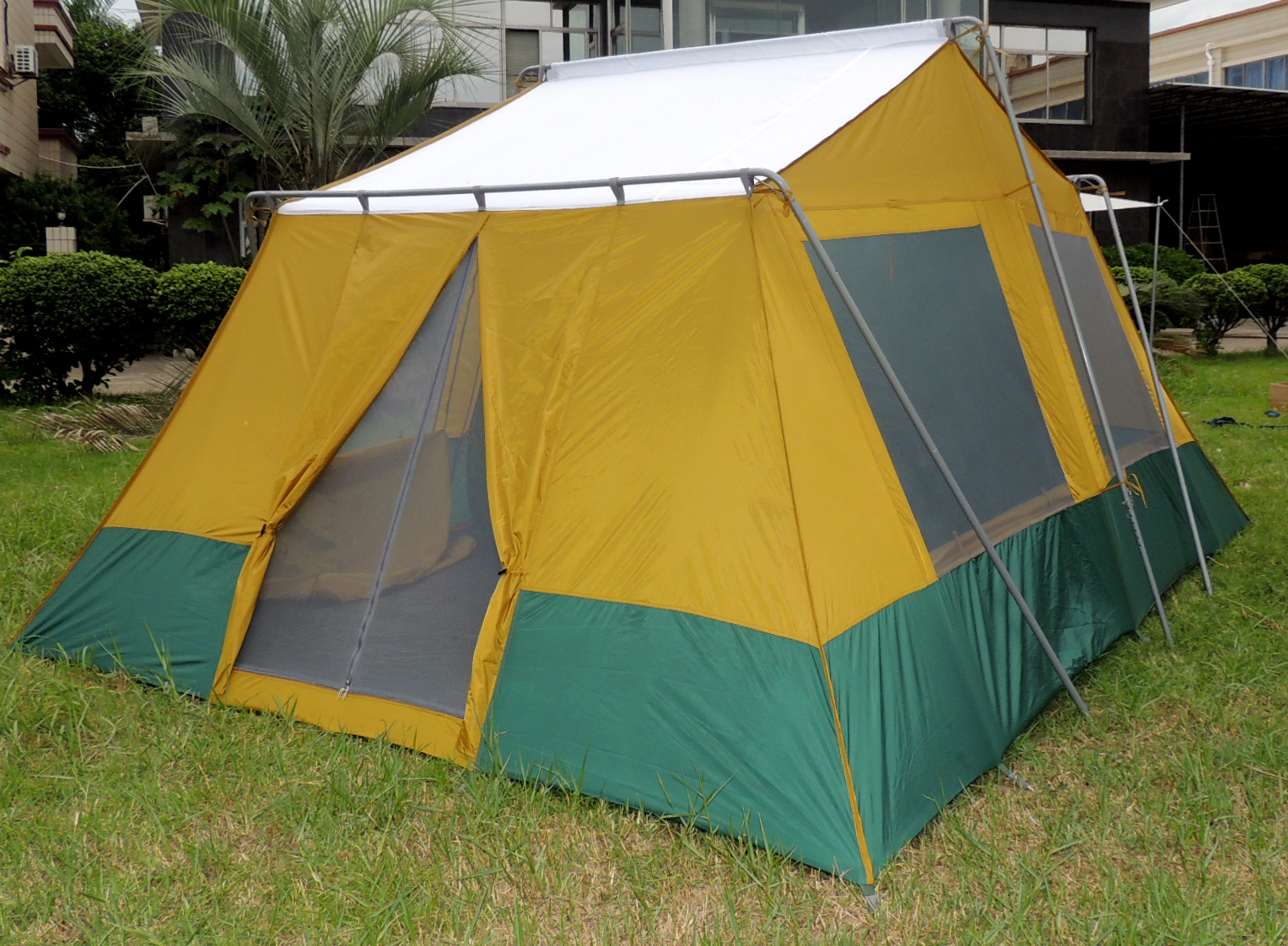 ... Cabin Tent 767 back door with solid roof under rain fly ... & Two Room Cabin Tent 10u0027 x 14u0027 | Two 10u2032x7u2032 Cabins | Rugged Frame
