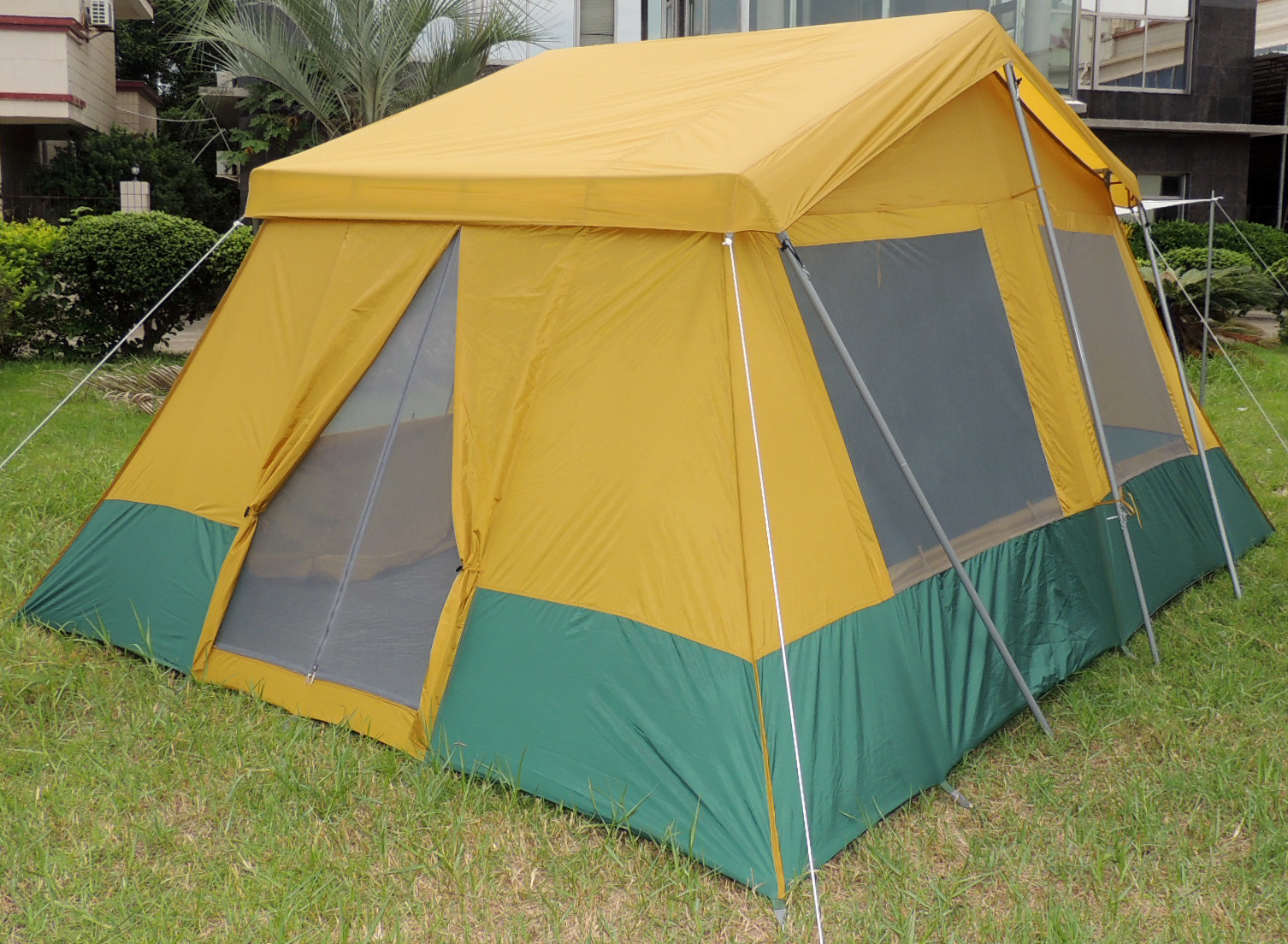 Two room cabin tent 10 39 x 14 39 two 10 x7 cabins rugged for Tent cottage