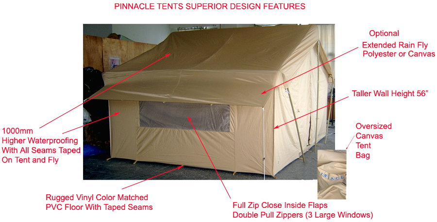... Canvas Tent 644 Product Specifications - Shown with extended optional rain fly  sc 1 st  Pop Up Tents Cabin Tent Canvas Tents Screen Tents Dome Wall Tents & Canvas Tents 9u0027x12u0027 | Canvas Camping Tent | All-Weather Canvas Tents