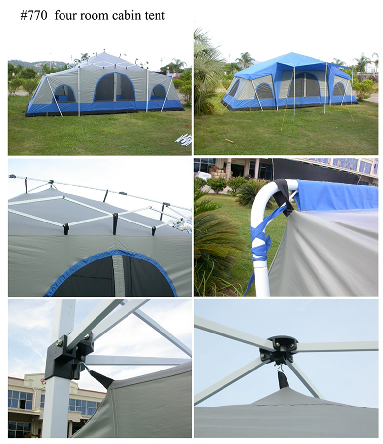 ... Four Room Cabin Tent - Details ... & Deluxe 4 Room Cabin Tent 24u0027x10u0027 | Large Camping Tent | Sleeps 12-16