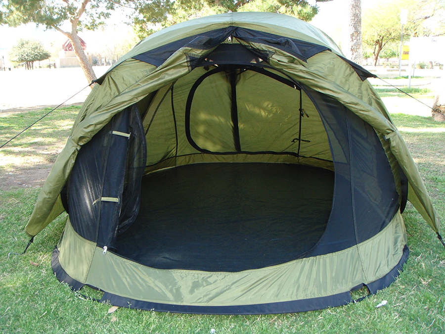 ... Front View of Pop Up Tent With Rainfly On And Vestibule Open Three Person ... & 3-Person Pop Up Tent With Rain Fly | Steel Frame | Weather Protection