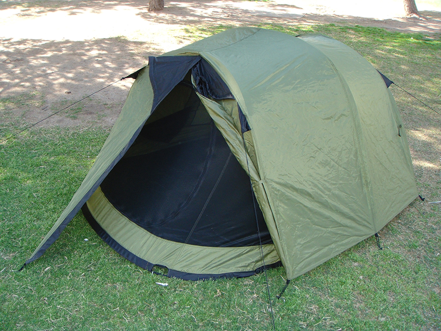 Two Person Pop Up Tent XP40002  Full Rain Fly With Vestibule Open